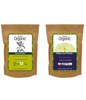 ORGANIC HENNA+ORGANIC INDIGO 100% Natuurlijke BIO Organic Care Haarverf Zonder PPD, PTD, Ammonia, Ammoniak, Peroxide, Waterstofperoxide etc. 100g+100g