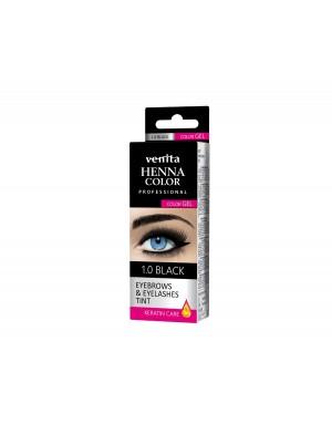 HENNA COLOR Professional WIMPERVERF en WENKBRAUWVERF Color Gel Keratin Care Black 1.0